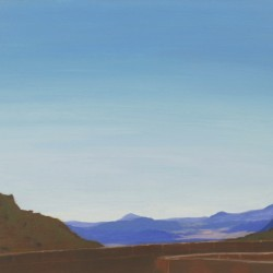 Oil painting on gesso of the Piketberg mountains seen from within the foundations of a new building. Western Cape, South Africa.