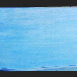 Oil painting on gesso of a view from de Waal Drive in Cape Town, South Africa, with a lot of blue sky punctuated by distant mountains and a foregrounded lamppost.