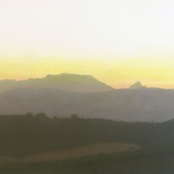 Oil painting on gesso of a view from Thelema Mountain Vineyards in Stellenbosch, Cape Town, South Africa.