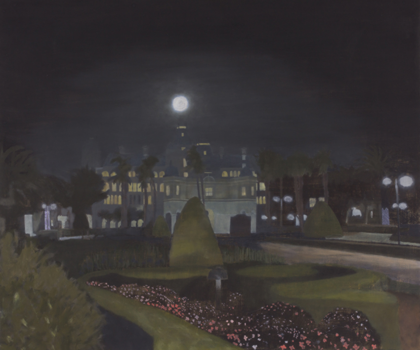 Oil painting on gesso of the Versailles-like gardens and imperial facade of the GrandWest Casino at night in Goodwood, Western Cape, South Africa.