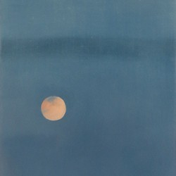 Oil painting on gesso of a full moon and plenty of sky over a New York skyline.