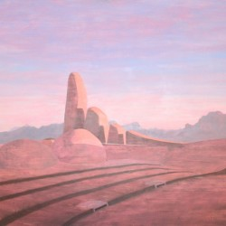 Oil painting on gesso of a pink and dusky view of the rounded mounds that represent the African languages and the stubby fingers of the European languages at the Afrikaanse Taal Monument in Paarl outside Cape Town, South Africa.