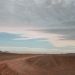 Oil painting on gesso of tyretracks in a red-dusty road, with Table Mountain in the far distance. Cape Town, South Africa.