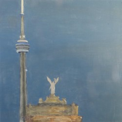 The top of the Expo Arch with the CN Tower in the background at dusk. From a photo at ledsmagazine.com