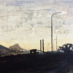 Oil painting on gesso of a dusky sky above Lion's Head and the Athlone Power Station in Cape Town, South Africa.