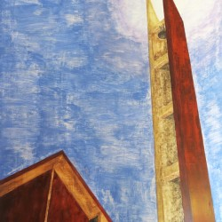 Oil painting on gesso of the geometric forms of the triangular steeple and straight-up linear bell tower of the modernist Nederlandse Gereformeerde Kerk in Laaiplek, Western Cape, South Africa.