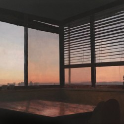 Oil painting on gesso of a dusky sky out of an apartment window in Cape Town, South Africa.