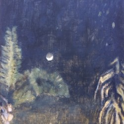 Oil painting on gesso of a night sky and two palm trees at the San Diego Zoo (from a photo by Shaista Justin).