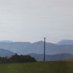 Oil painting on gesso of telephone poles against a backdrop of receding mountain ranges near Riebeek-Wes in the Western Cape, South Africa.