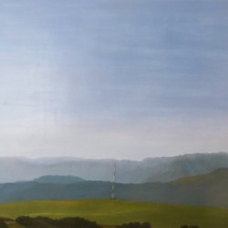 Oil painting on gesso of a cell phone tower nestled amongst a range of mountains near Riebeek-Wes in the Western Cape, South Africa.