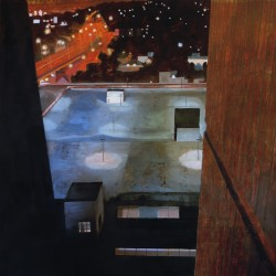 Painting looking down between two buildings into a parking lot with pools of light and the city nightscape stretching out in the distance.