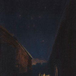 Painting of a domestic alleyway at night