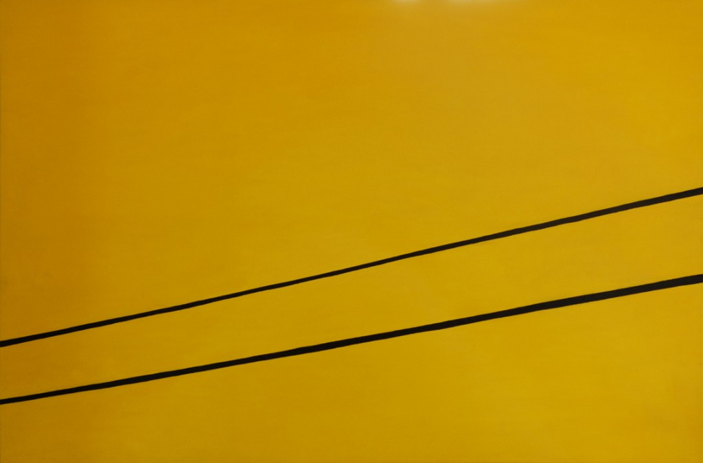 Oil painting on canvas of two electricity cables against a yellow sky, on the way to the Rocking the Daisies music festival near Darling, Western Cape, South Africa.