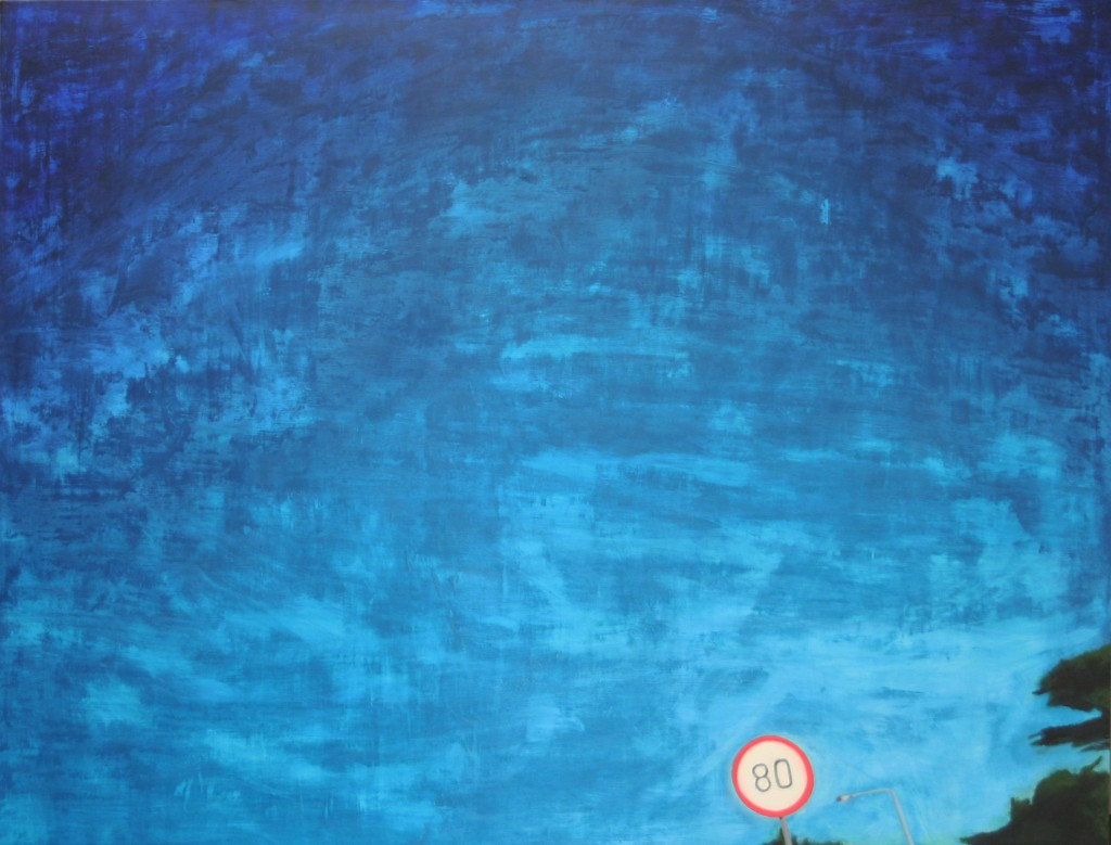 Oil painting on gesso of de Waal Drive, Cape Town, South Africa a lot of drippy blue sky, with a red-and-white speed limit sign and a flash of greenery in the bottom right corner.