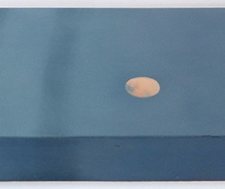 Edge detail of an oil painting on gesso of a full moon and plenty of sky over a New York skyline.