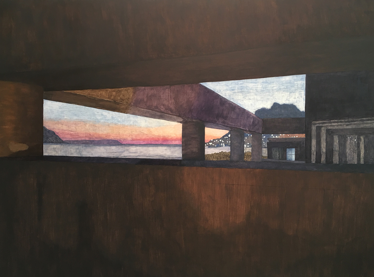 Painting of modern architecture framing sunset in Hout Bay, Cape Town