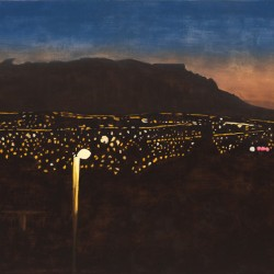 Twilight view from Welgemoed across city lights to Table Mountain