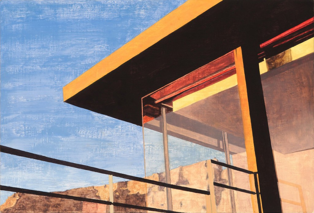 Table Mountain seen through a modernist house in central Cape Town