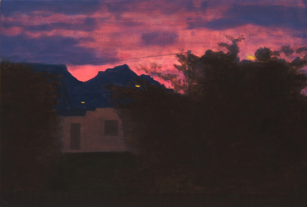 Blurry dark foreground with house and bush with Table Mountain in the background under a pink and blue sky