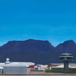 Cape Town International Airport from the runway with Table Mountain in the distance