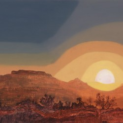 Orange-tinged view towards Table Mountain under a layered abstract sky