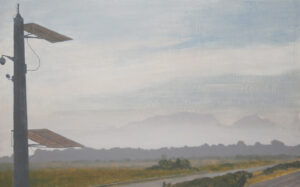 Oil painting on gesso of a view from the Baden Powell Drive flyover on the N2, with roadside solar panels in the foreground and a hazy Table Mountain in the background. Cape Town, South Africa.