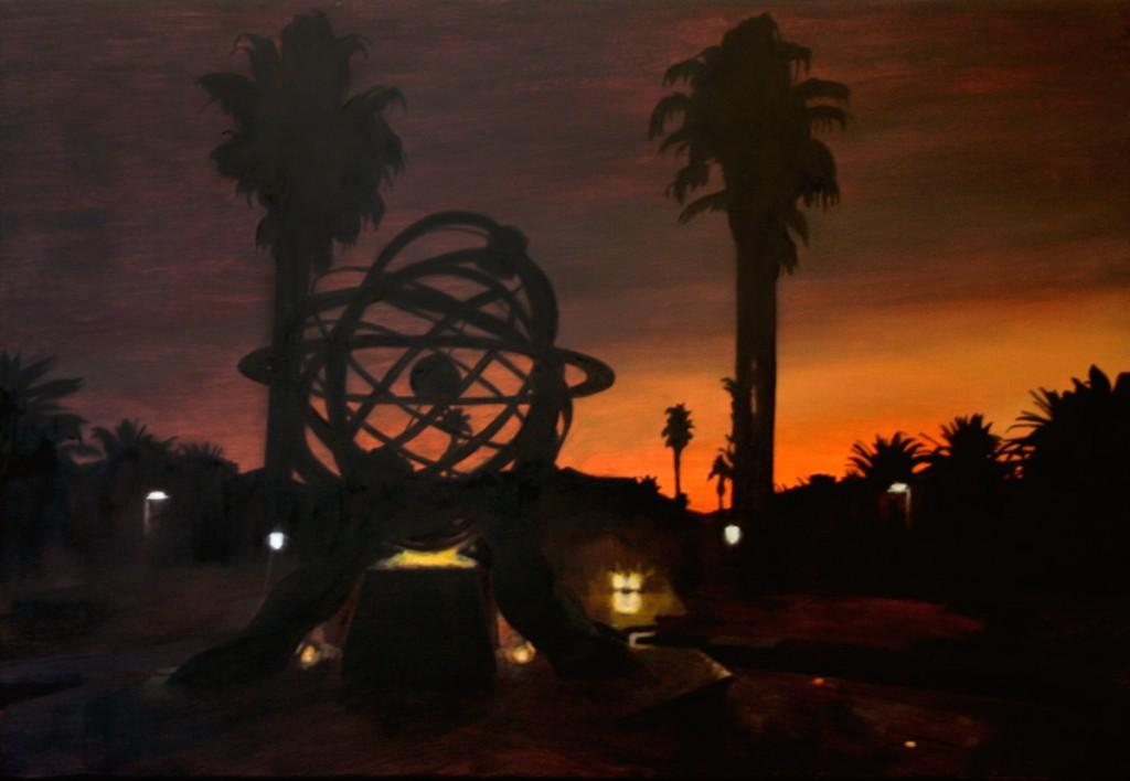 Oil painting on gesso of a silhouetted sunset view from outside the GrandWest Casino in Goodwood looking towards Table Mountain and Cape Town, South Africa.