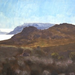 Oil painting on gesso of a view from the top of Karbonkelberg looking towards Table Mountain in Cape Town, South Africa.