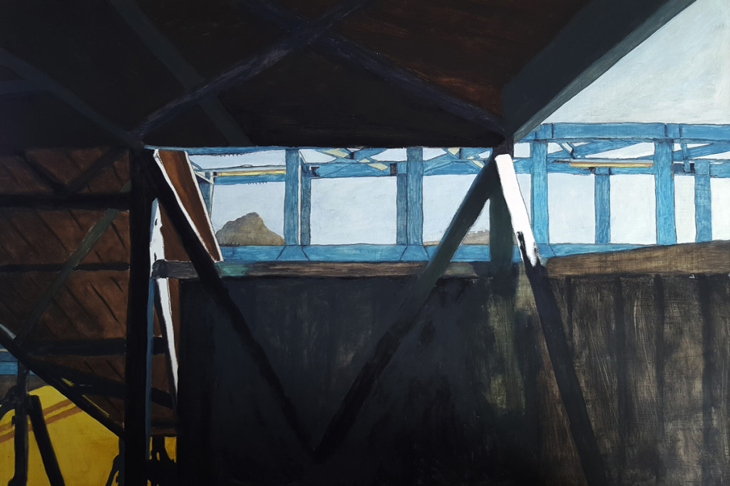 Painting of Lion's Head in Cape Town from the pedestrian bridge at Woodstock train station