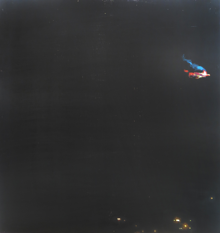 Oil painting on gesso of lights and a blue-and-red-flame from Arcelor Mittal's Saldanha Steelworks outside Saldanha Bay in the Western Cape, South Africa.