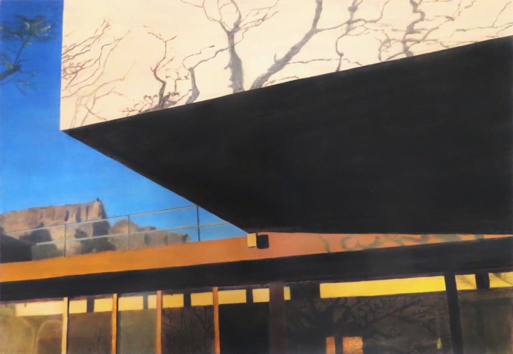 Oil painting on gesso of Table Mountain and a modernist house in Cape Town, South Africa.