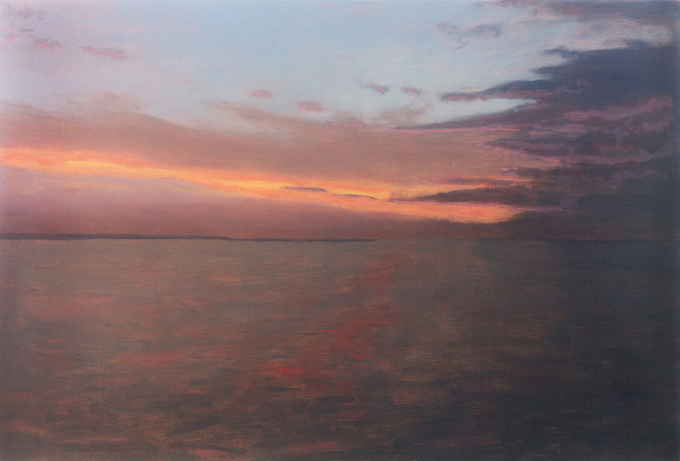 Oil painting on gesso of a sunset sky over Montauk, New York.