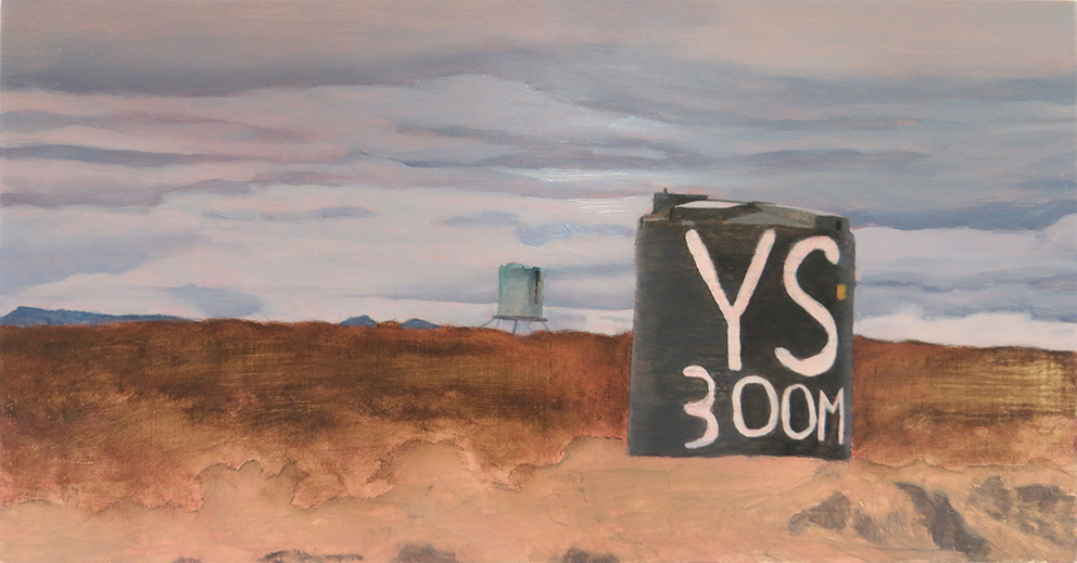 Oil painting on gesso of two water drums in an arid landscape en route to the Calvinia Meat Festival (vleisfees) in the Western Cape, South Africa.