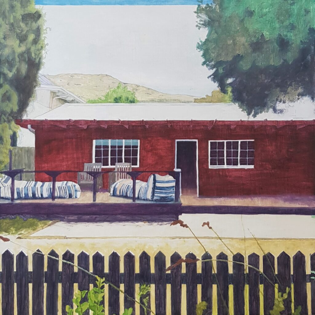 Painting of a beachside cottage with striped loungers and a black picket fence
