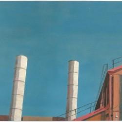 The distinctive peaked roof and chimneys of Turbine Hall.