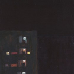 Painting of the glow of an apartment block's stairwell and windows at night