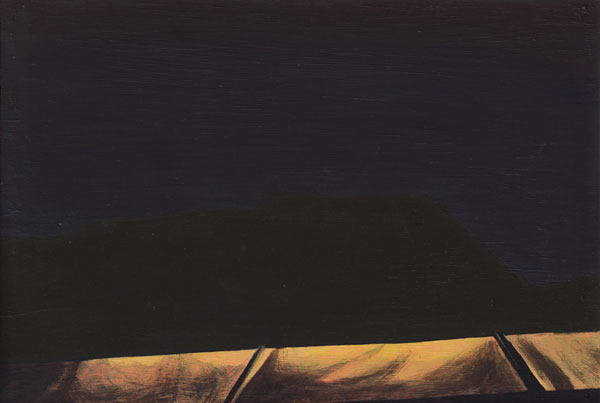 Painting of a building silhouetted by the light from its own signdarkly against a night sky