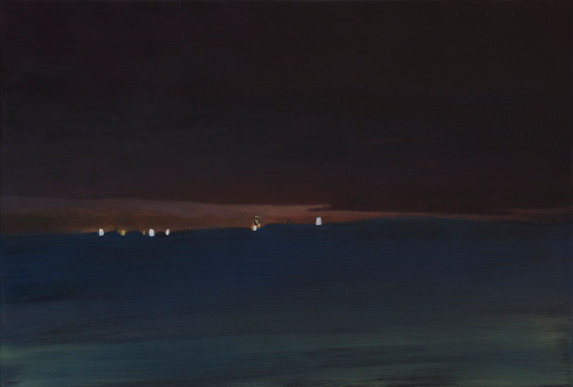 Painting of a darkening red sky and a dark blue foreground with a sliver of dusk and factory lights breaking through in between