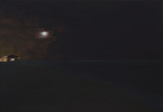Painting of light from a small building spilling onto a beach at night
