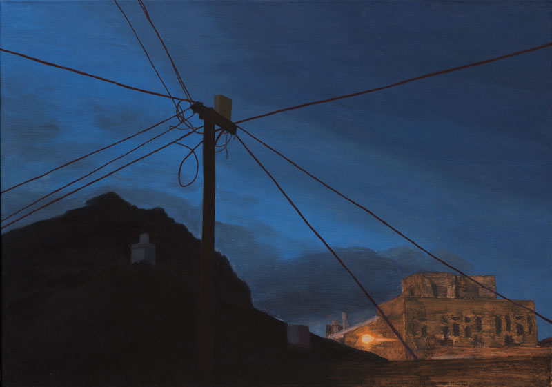 Painting of an electricity pylon with its cables silhouetted against a darkening sky, and a twilight lit building andsilhouetted mountain nehind