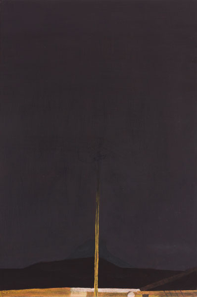 Painting of an electricity pole disappearing into the darkness, with a mountain faintly silhouetted behind it