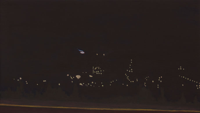Painting of lights and a flickering factory flame emerging from darkness