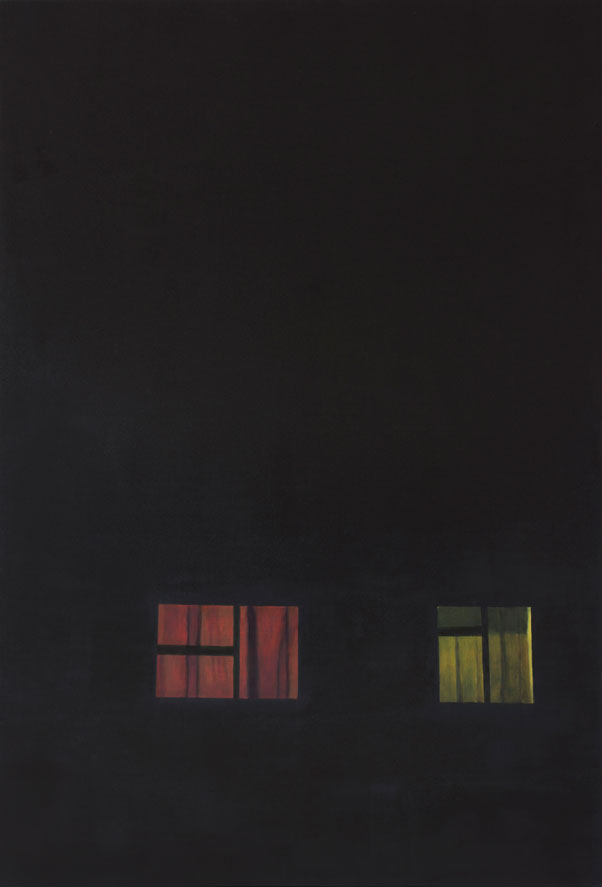 Flat black painting with red and yellow light glowing from two windows near the bottom