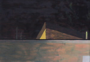Painting of the intersection of suburban walls glowing slightly at night