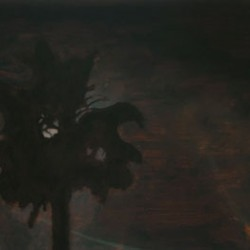 Painting of a palm tree silhouetted against a full moon